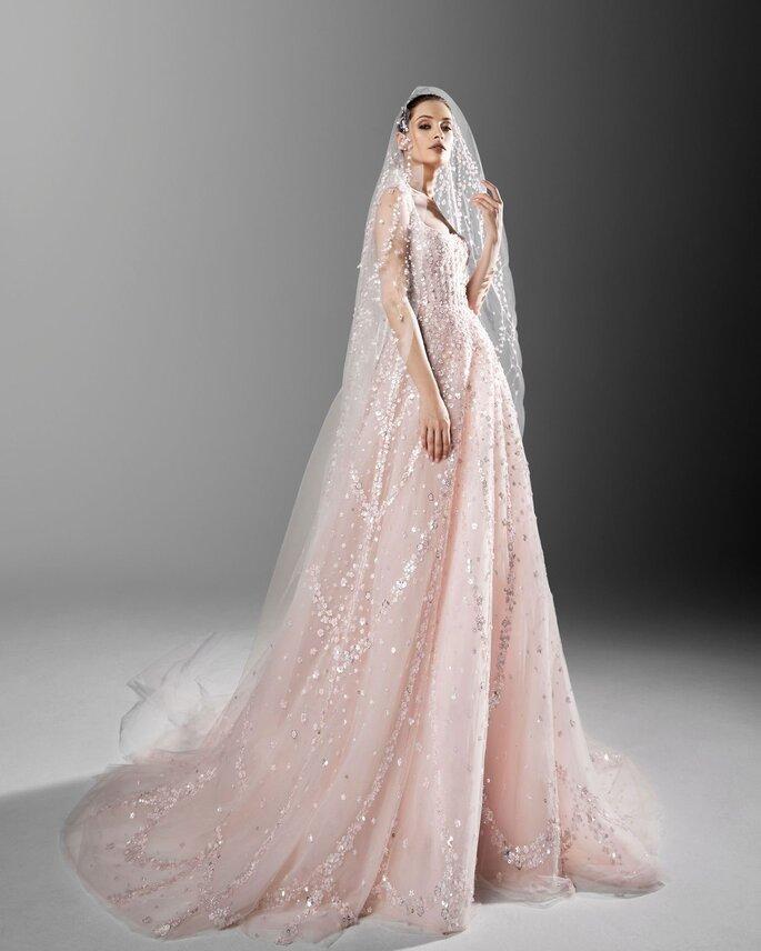 Vestidos de novia rosa y pedrería