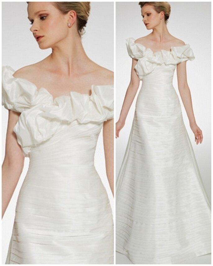 Vestido de novia escote barco. Patricia Avedaño