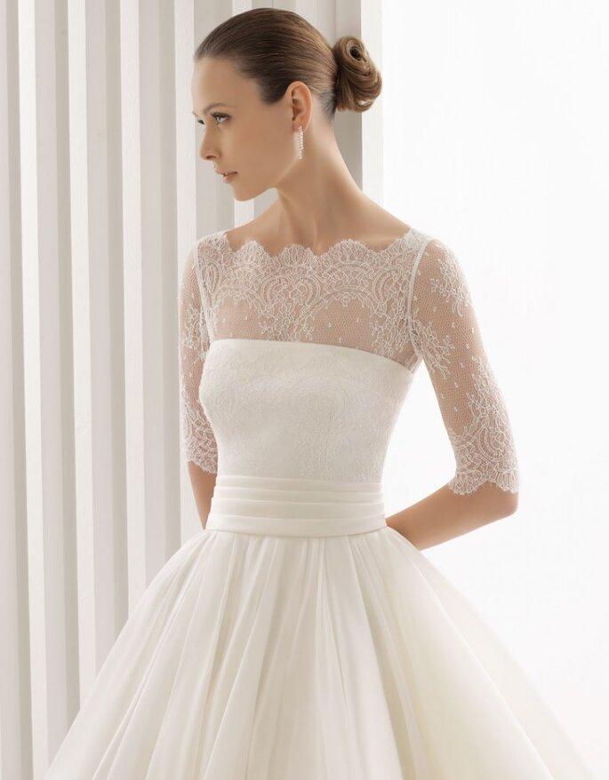 Vestido de novia Aqua, manga tres cuartos, Rosa Clará