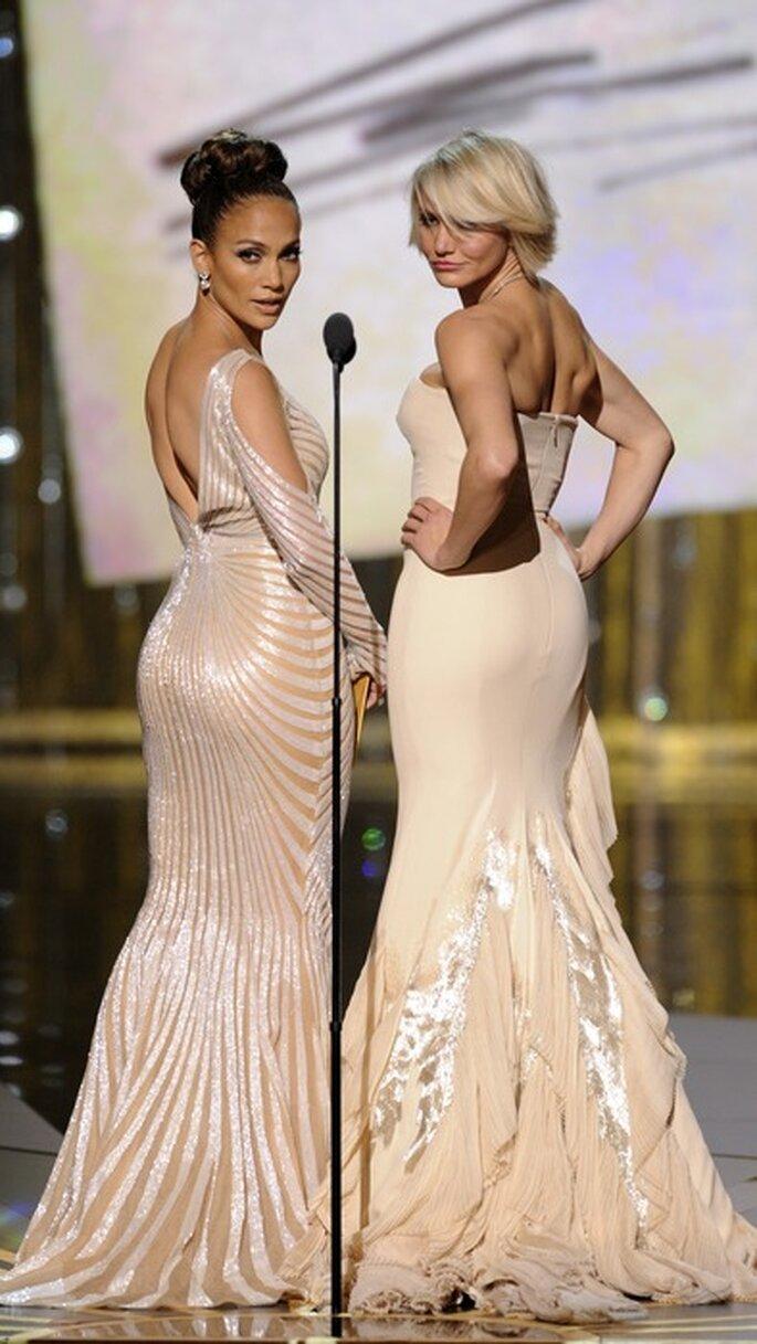 Vestidos blancos en los Oscar 2012. JLo y Cameron Díaz.