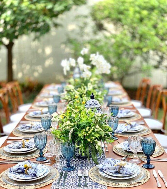 Rosa Contemporánea decoración mesas largas