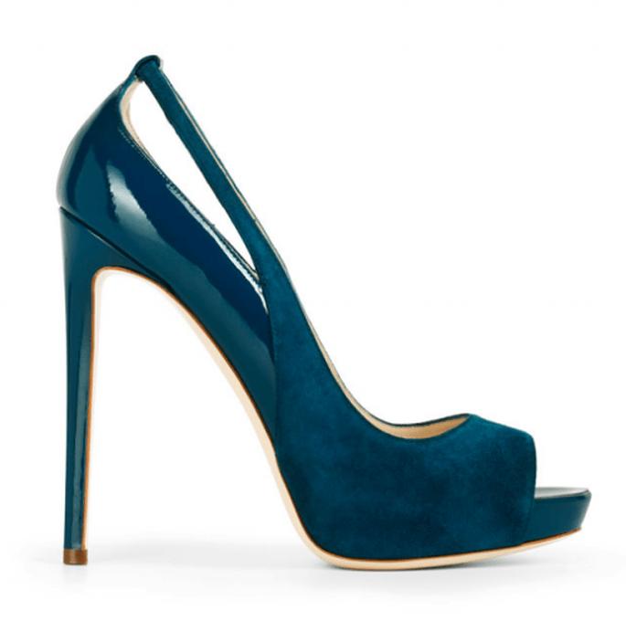 Zapatos de novia 2014 en color azul cobalto con punta abierta - Foto Burak Uyan