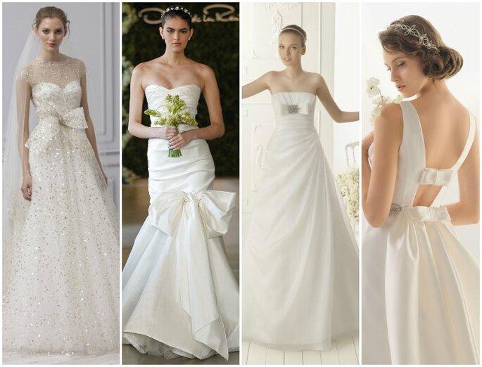 Vestidos de novia con detalles de lazo - Fotos Monique Lhuillier, Oscar de la Renta, Aire Vintage y Rosa Clará