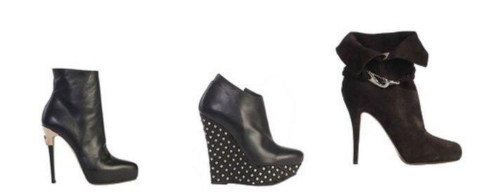 Tre modelli di ankle boot con tacco a stiletto o zeppa borchiata per un effetto super strong! Foto: www.lesilla.it
