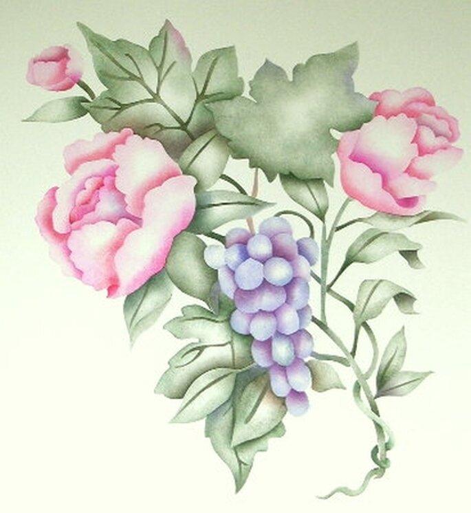 """""""Grapes & Roses"""" Stencil da muro di Victoria Larsen"""