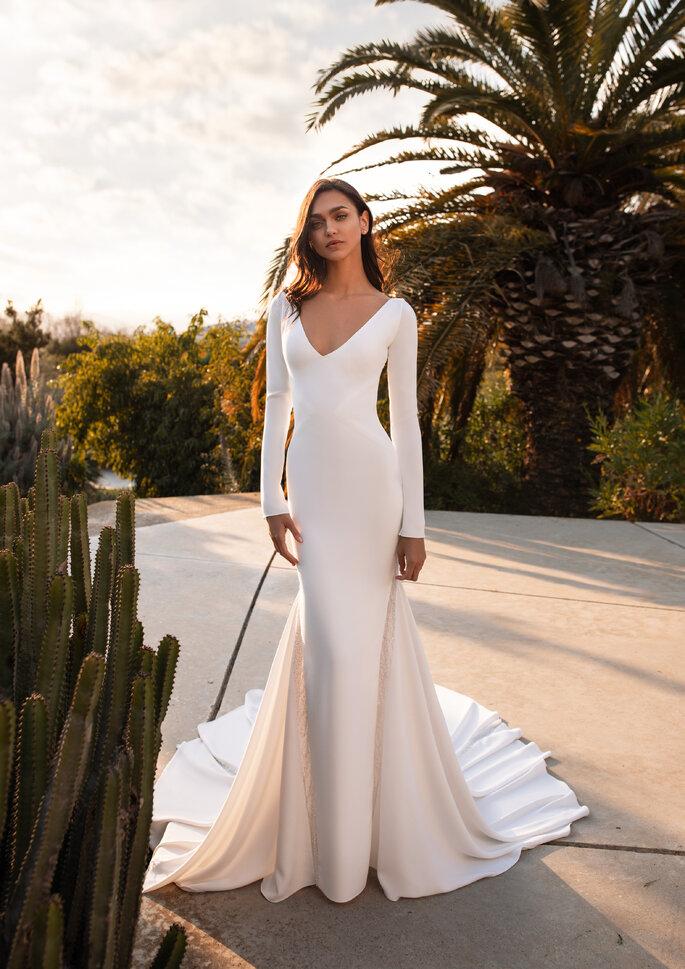 Vestido de novia corte sirena con manga larga, estructura simple
