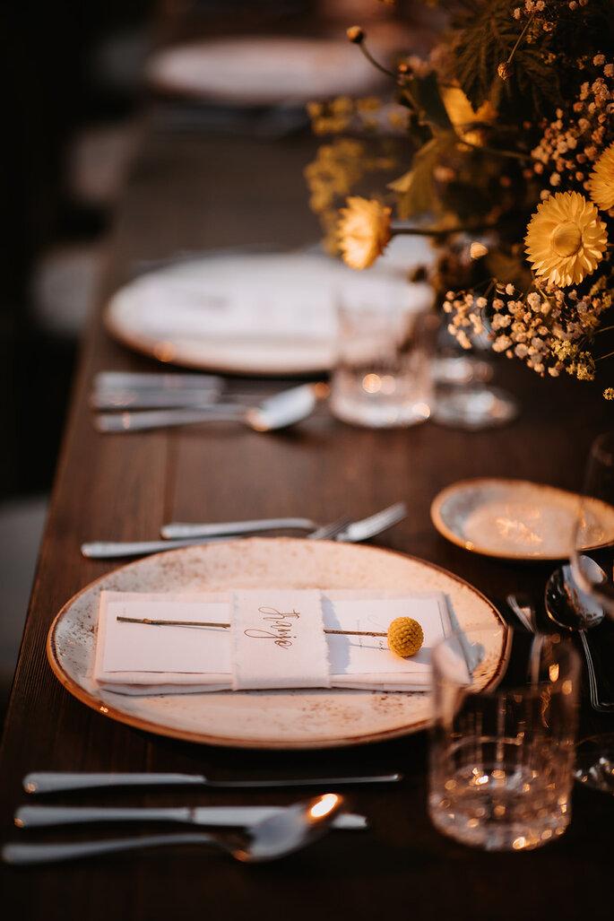 Hochzeitstrend Gartenhochzeit Tischgedeck
