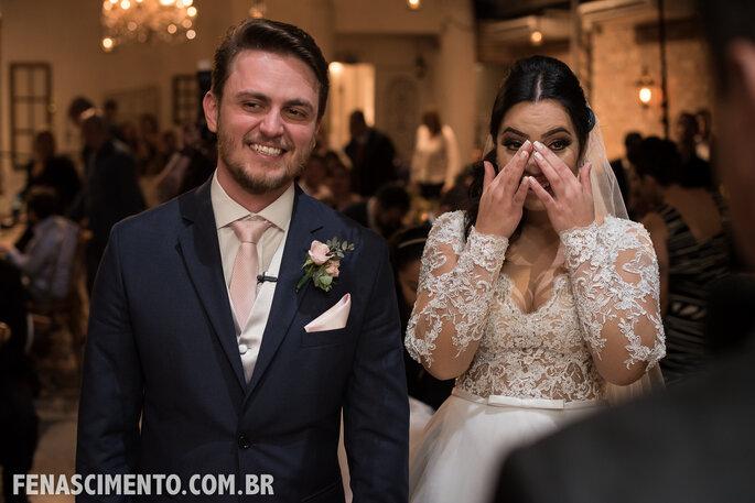 emoção dos noivos
