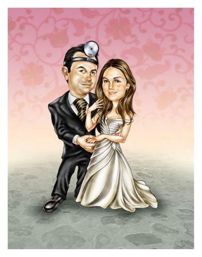 Inviti di nozze stile comic for Disegno sposi