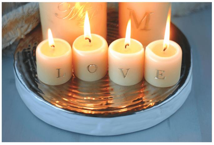 Decoración de boda con velas - Foto Rachel W. Miller