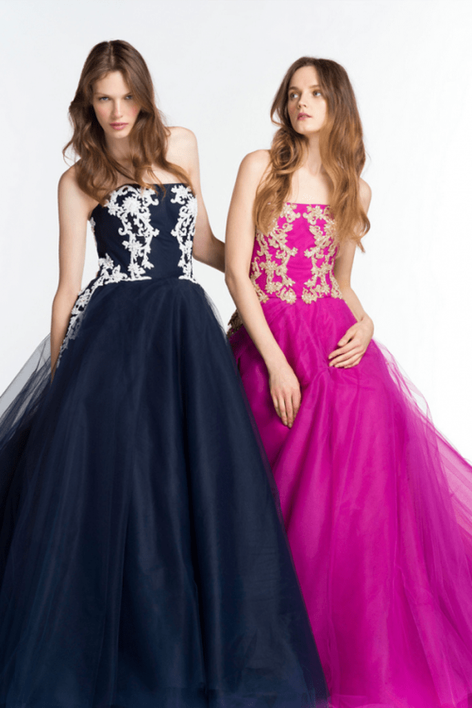 Vestidos de fiesta 2014 con estampados y garigoleos al frente - Foto Reem Acra