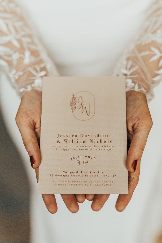 Hochzeitseinladung minimalistisch elegant Boho Look