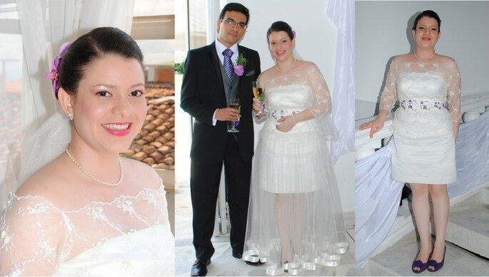 Fotos preboda. Detalles del maquillaje y el vestido de novia transformable diseñado por Lina