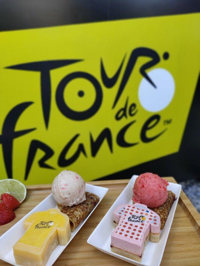 Service de sorbets naturels à l'occasion du Tour de France, pâtisseries personnalisées