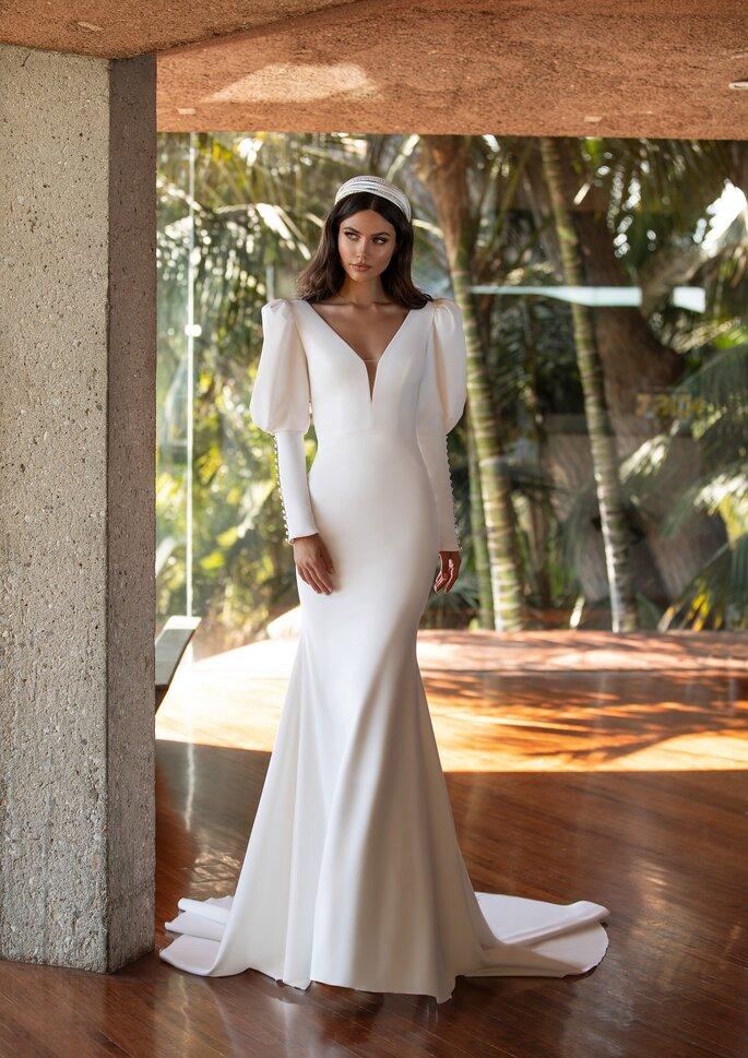 Vestido de novia mangas abullonadas