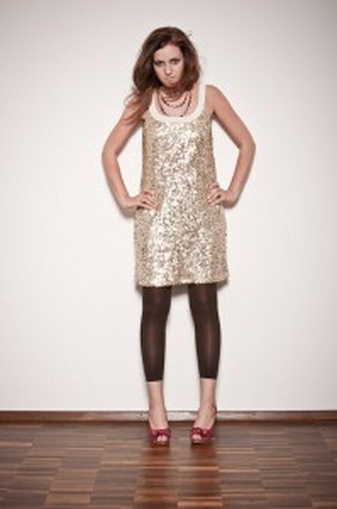 küss die Braut: Paillettenkleid Gold