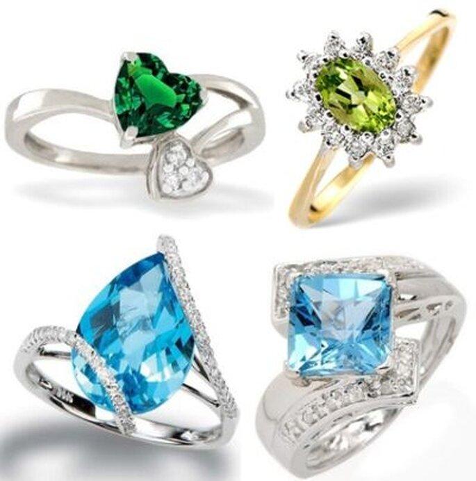 Außergewöhnliche Hochzeitsringe! Collage: Catharina Freeman, Fotos: www.alljewelrydesigners.com, www.thediamondstore.co.uk, www.cjewelryfashion.com & 1.bp.blogspot.com
