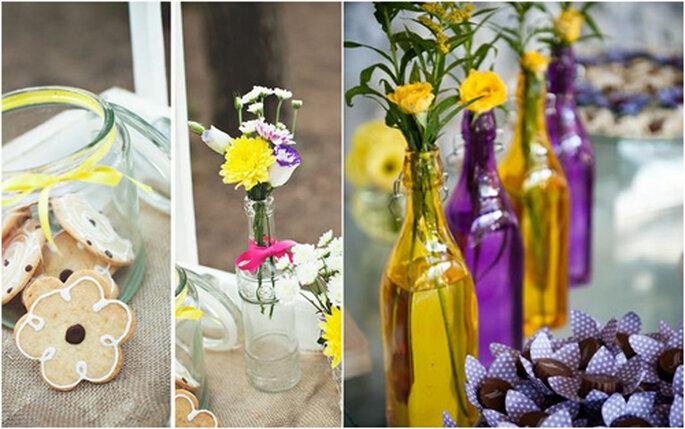 Las botellas de colores darán un toque diferente al evento. FOTOS: