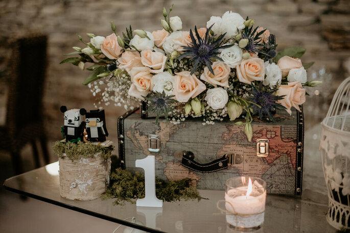 decoração casamento com baú
