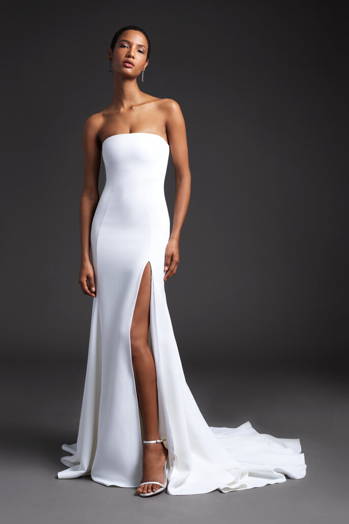 Vestido de nocia strapless corte sirena