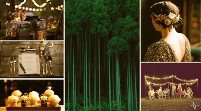 """Decoración de boda """"Naturaleza de noche"""". Elaboración Laura Navarrocon fotos de Printablepress, Onabicyclebuiltfortwo y Oncewed."""