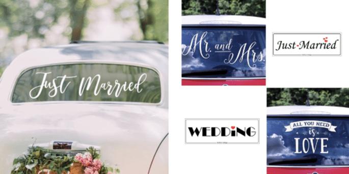 Adhésif pour voiture Just Married blanc et Plaque voiture Just Married