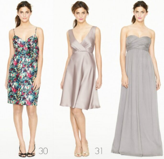 Vestido para dama de boda en colores gris y estampado - Foto: J.Crew Bridesmaid Collection