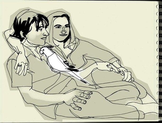 Las parejas pueden obtener la creación hablando con el dibujante. Foto: Dibujos a Domicilio.