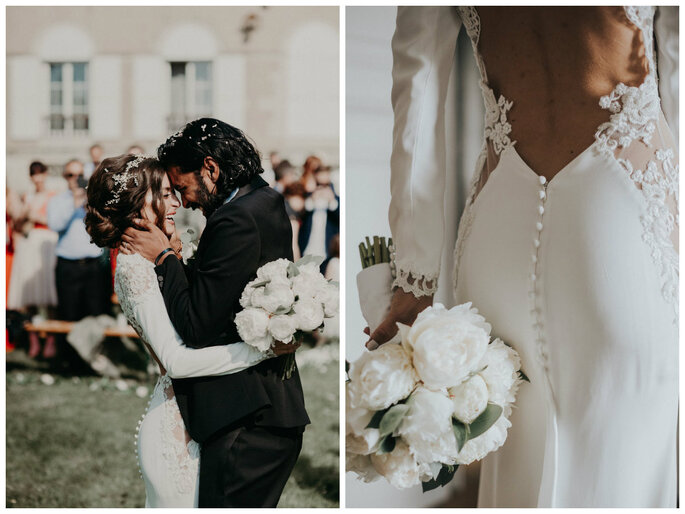 Deux mariés très heureux de célébrer leur mariage - une robe de mariée dos nu