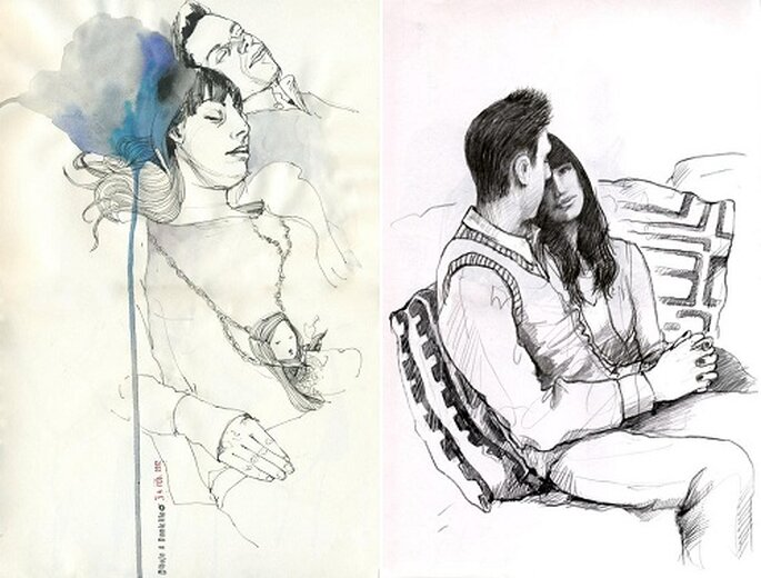 Pareja enamorada dibujo a lapiz - Imagui
