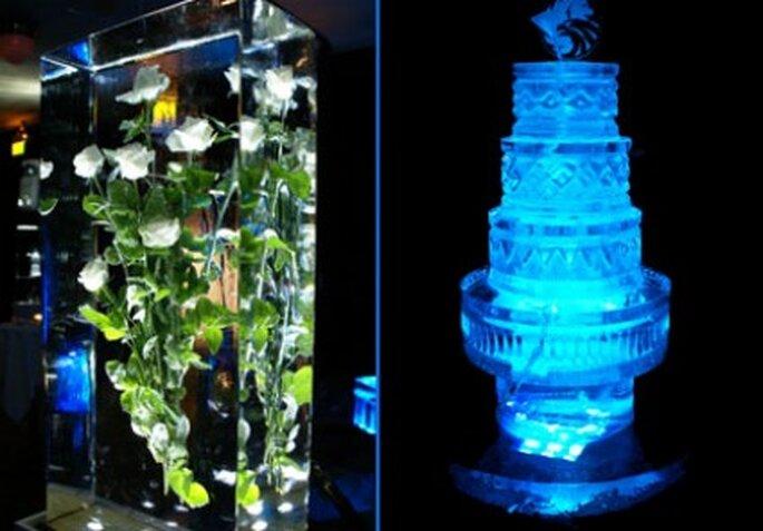 Eisskulpturen für die Hochzeit.