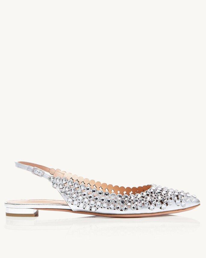 Chaussures de mariée argentées plates