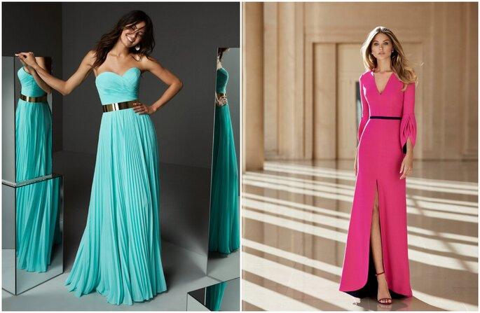 Vestido para convidada de casamento: azul com saia plissada e tomara de caia e vestido pink com fenda