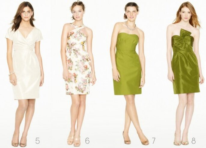 Vestidos cortos para damas de boda en color verde olivo, crema y estampados - Foto: J.Crew Bridesmaid Collection