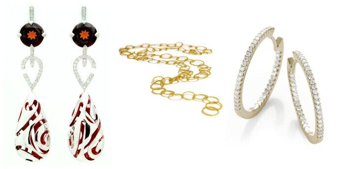 Image à gauche : Boucles d'oreilles Marsala, Noémie Briand / Image au centre : Collier La Grande Coco, Catherine Marche / Image à droite : Créoles Angelique, 21Diamonds