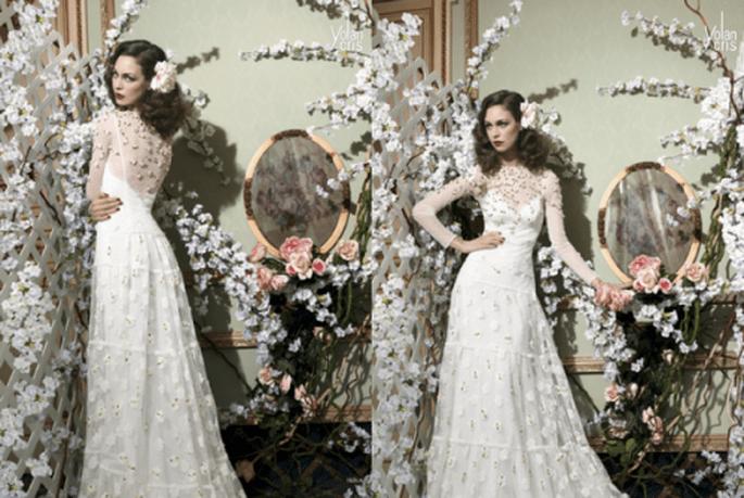 Vestido de novia con estilo vintage, con escote ilusión y mangas largas - Foto YolanCris