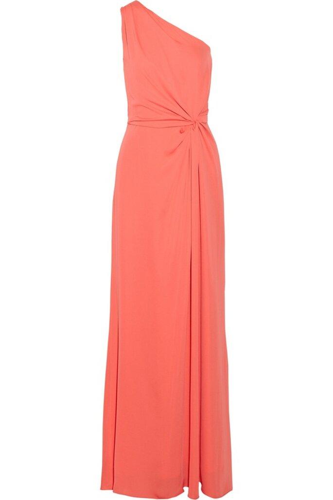 Vestido de fiesta en color naranja con escote asimétrico DE Halston - Foto Net a Porter