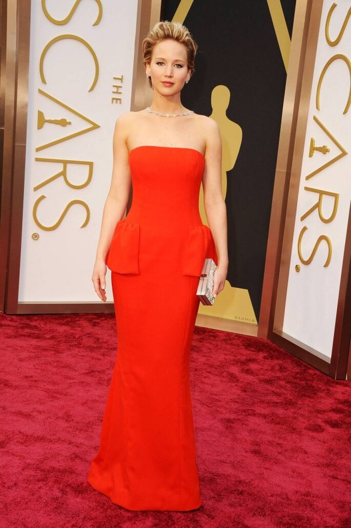Jennifer Lawrence en la red carpet de los Oscar 2014 - Foto Dior