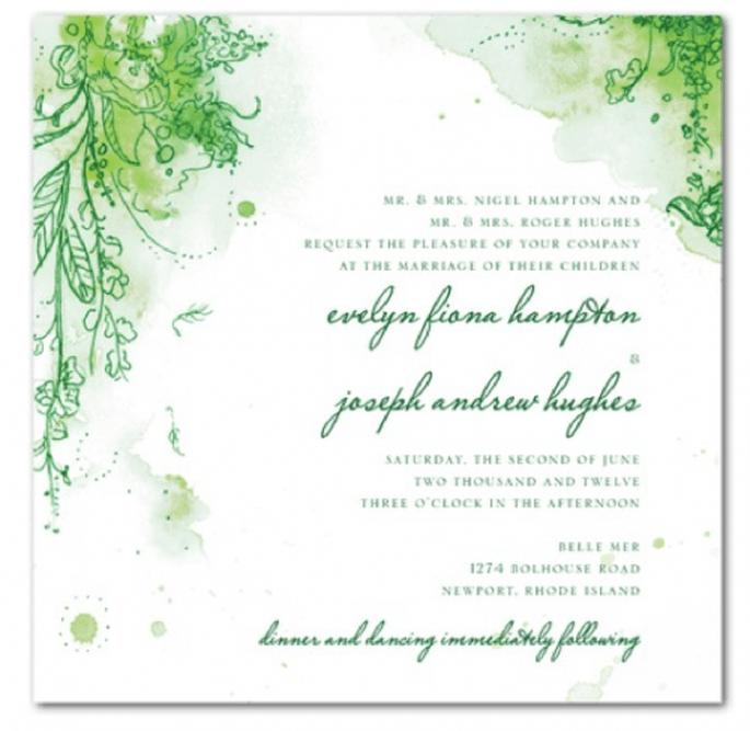 Invitación de boda decorada con color verde esmeralda - Foto Wedding Paper Divas