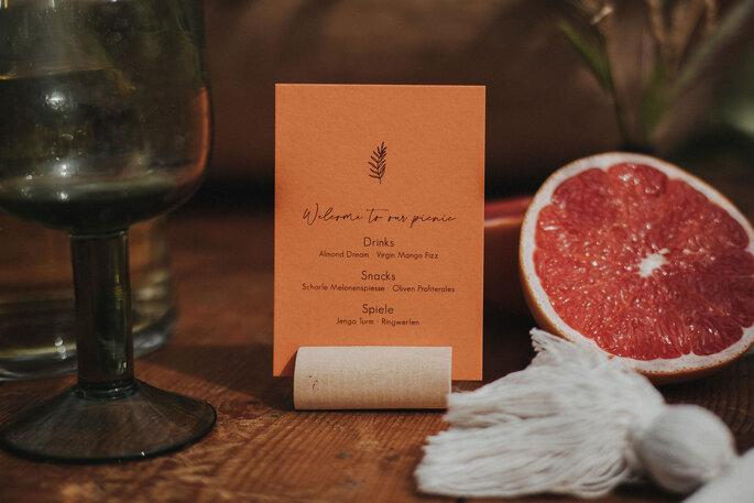 Menükarte Hochzeit in orange