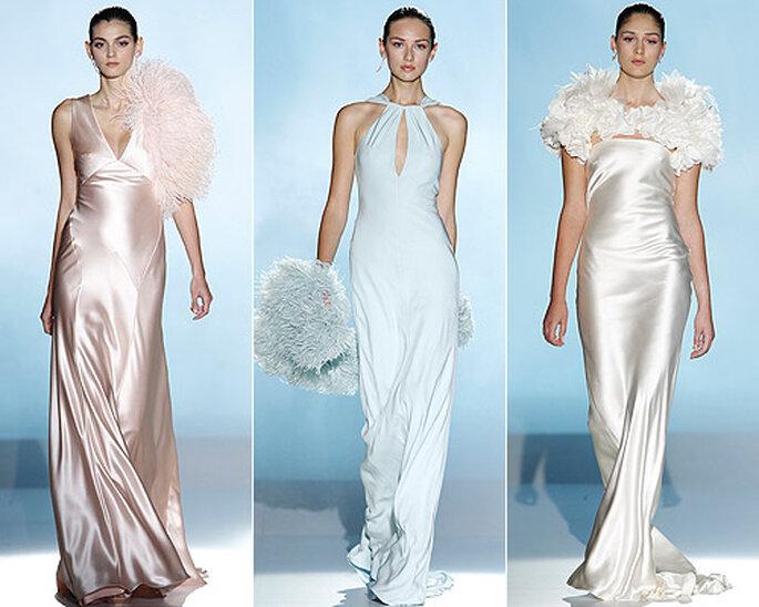 Nella Collezione 2013 Rosa Clarà ha proposto abiti in raso in nuance pastello, perfetti anche come abito da sera. Foto: www.rosaclara.es