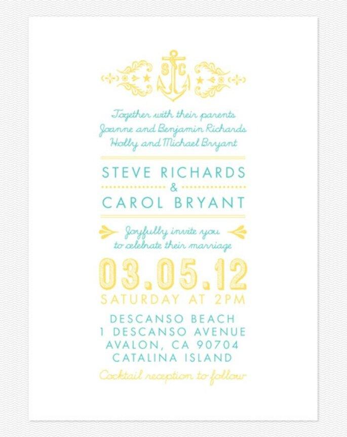 Invitation de mariage couleur jaune. Photo: Love vs. Design