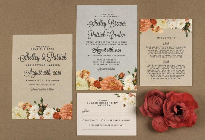 Invitaciones de boda coloridas. Foto: green wedding shoes