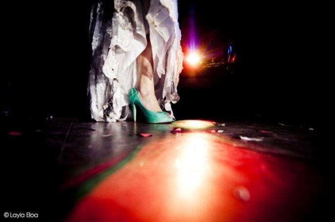 Zapatos de novia Azul Turquesa. Fotografía Layla Eloa