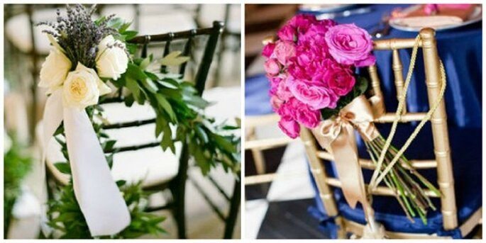 Decora las sillas de tu boda con flores naturales. Fotos: Lisa Lefkowitz Photography - Laura Novak Photography