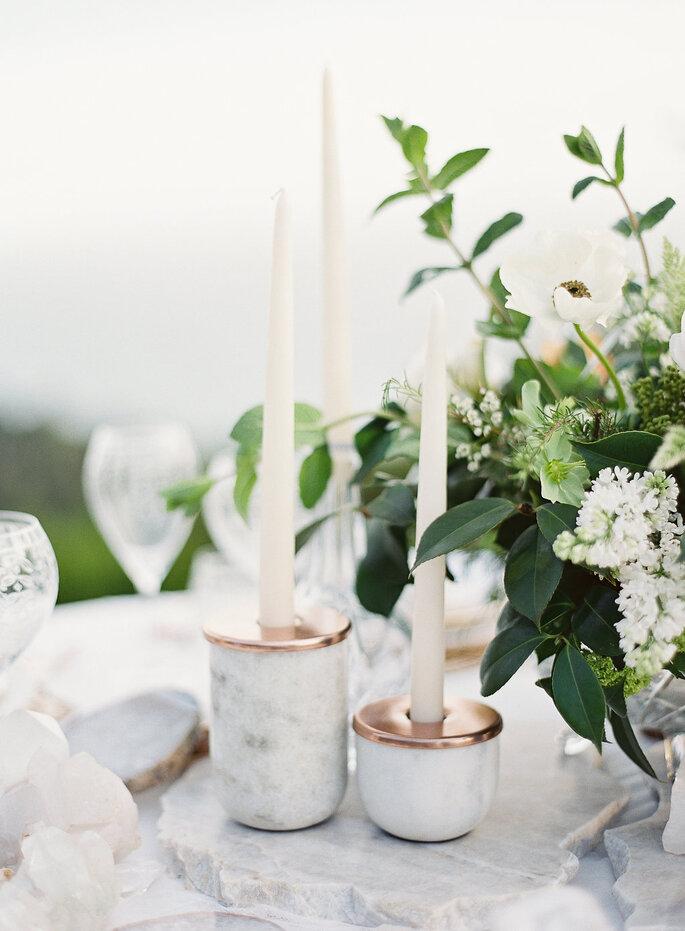 Suporte para velas de mármore
