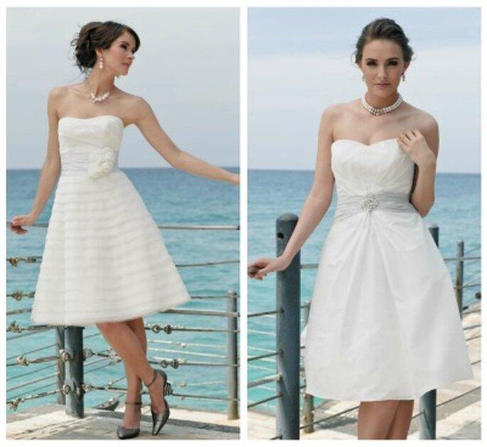 Kurze Hochzeitskleider von Marylise. Links: Modell Salma. Rechts: Modell Keira - Foto:http://www.marylise.be/