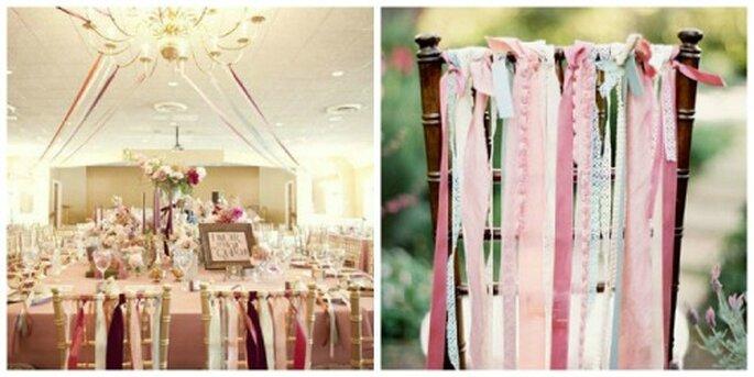Decora con cintas las sillas y el salón de tu boda. Fotos: Style me pretty - Jose Villa