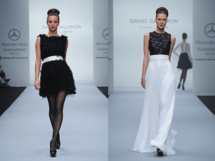 Vestido corto en color negro texturizado y vestido largo con falda blanca y top con brillos - Foto Mercedes Benz Fashion Week México