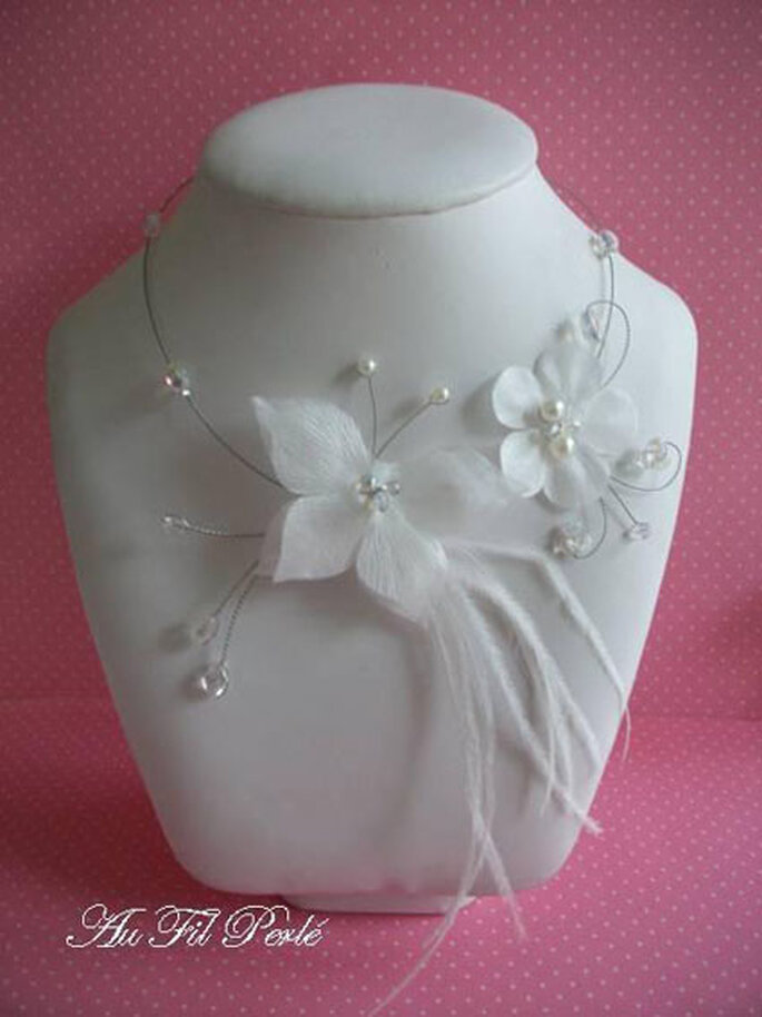 Collier de mariée papillon avec plumes Au Fil Perlé